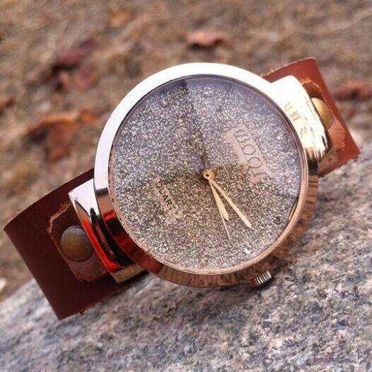 Retro  Rhinestone Glitter  Leather Watch -Womens Handmade Wristwatch